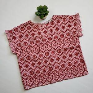 Zara Basics Peforated Striped Crop Top Shirt